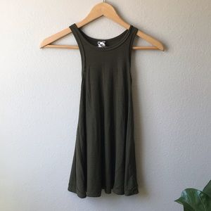 Free people olive green tank top XS